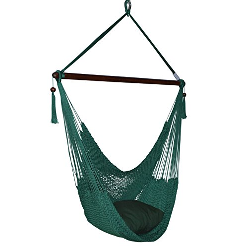 (Caribbean Hammocks Large Chair - 48 Inch - Polyester - Hanging Chair - Green)