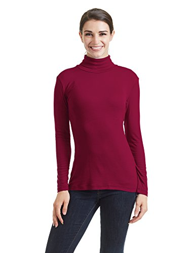Come Together California CTC WT950 Womens Long Sleeve Turtleneck Top Pullover Sweater L Wine (Rayon Rib Turtleneck)
