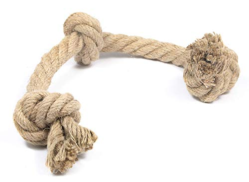 Humboldt Pet Supply Dog Rope Toy Made from Hemp | Safe and Digestible for Small and Large Aggressive Chewers (3 Knot, 20 mm)