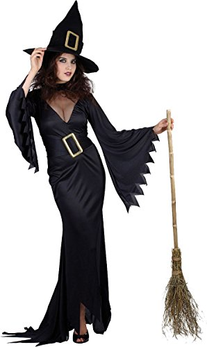 Adult Witchcraft Fancy Dress Party Ladies Scary Night Wicked Witch Costume Black]()