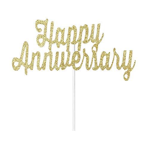 Gold Glitter Happy Anniversary Cake Topper - Wedding Anniversary Party, Anniversary Celebration Party