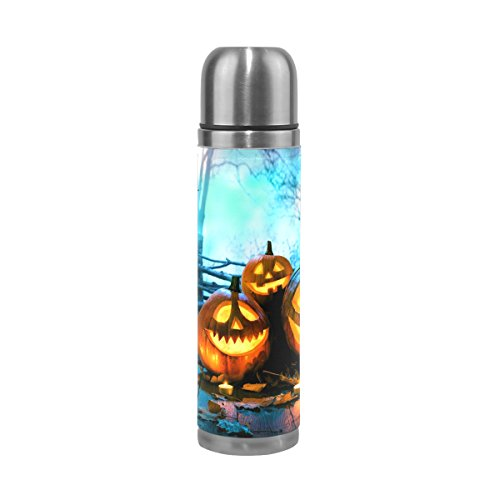 (JSTEL Halloween Wood Spooky Forest Stainless Steel Water Bottle Vacuum Insulated Leak Proof Double Vacuum Bottle for Hot Coffee or Cold Tea + Drink Cup Top)