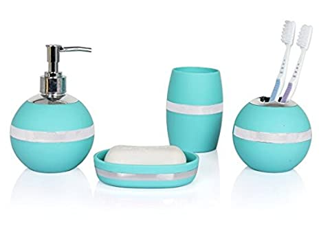 JustNile Modern Decorative 4-Piece Bathroom Accessory Set; Durable Plastic and Silver Chrome Finish; Includes Soap Dish, Toothbrush Holder, Round Tumbler and Dispenser/Pump - Minimalist, - Chrome Finish Plastic