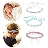inSowni 3pcs Multicolor Rhinestone Wreath Tiara Headbands with Ribbon Headpiece Accessories Set for Baby Girl Toddlers