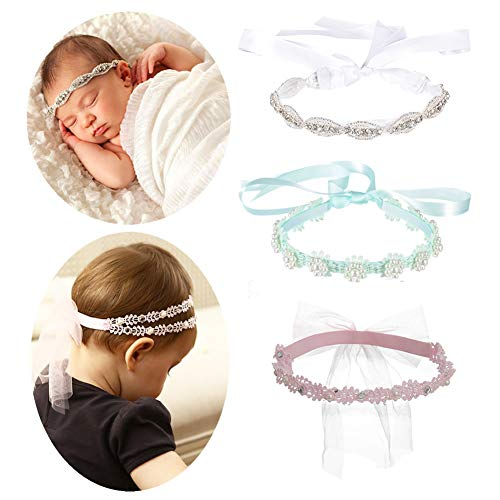 Pieces Headpiece - inSowni 3pcs Multicolor Rhinestone Wreath Tiara Headbands with Ribbon Headpiece Accessories Set for Baby Girl Toddlers