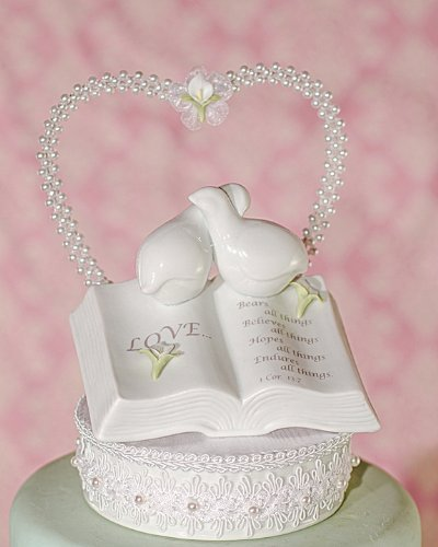 Wedding Collectibles CALLA LILY Love Verse Bible Cake Topper with Doves and Calla Lily Accents