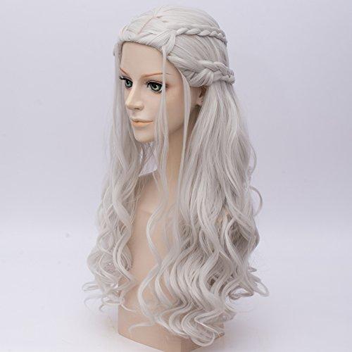 u-power68 Amback 2017 nueva película Anime plata pelo largo rizado cosplay peluca de Daenerys Targaryen de Juego de Tronos + peluca: Amazon.es: Belleza