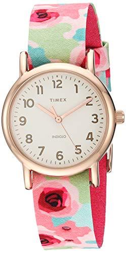 Timex Women's TW2T31300 Weekender 31 Pink Floral/Rose Gold-Tone Fabric Slip-Thru Strap Watch (Timex Watch Strap 16mm)