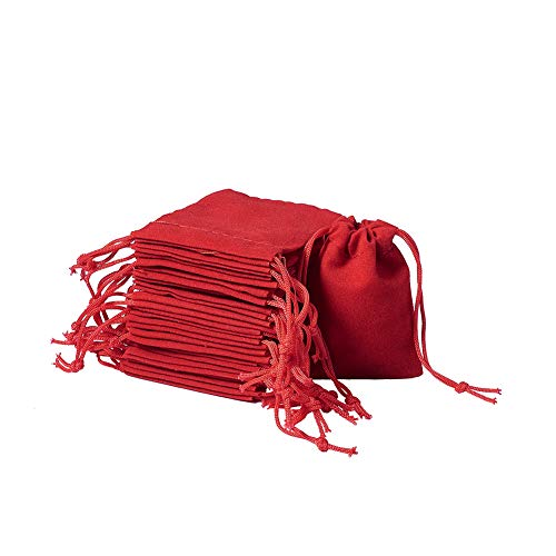 """Fashewelry 100 Pack Red Drawstring Velvet Bags 1.97x2.76"""" Wedding Party Favor Jewelry Candy Storage Gift Packaging Small Pouches"""
