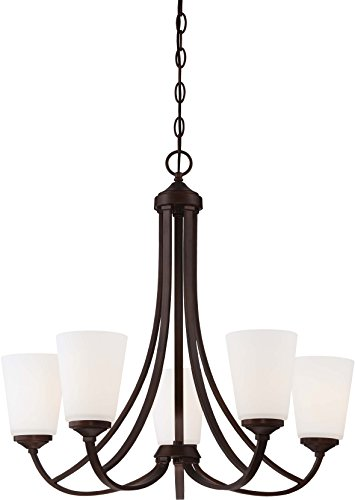 - Minka Lavery 4965-284 Overland Park Glass 2 Tier with Shades Chandelier Lighting, 5 Light, 500 Watts, Vintage Bronze