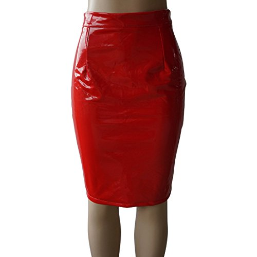 Couleur Jupes Soire Rouge Crayon Cuir Party Unie Genoux Package Slim Sexy Simple de Femme Fashion Fashion Et Jupe Hanche Cocktail xXCz4C1