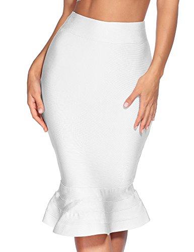Meilun Women's Rayon Bandage Bodycon Mini Skirt (X-Small, White ham)