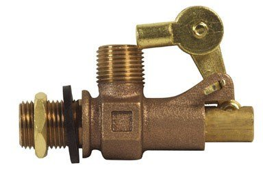 Mueller Industries 109-813 Tank Float Valve, 1/2 Inlet X Male Outlet, 1/2-Inch, Bronze