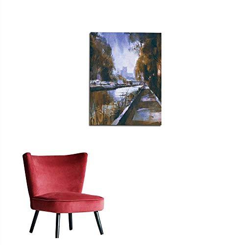 longbuyer Wallpaper Riverside Walkway in a Tranquil City
