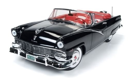 1956 Ford Sunliner 60th Anniversary Black Limited Edition to 1002pcs 1/18 by Autoworld AMM1072