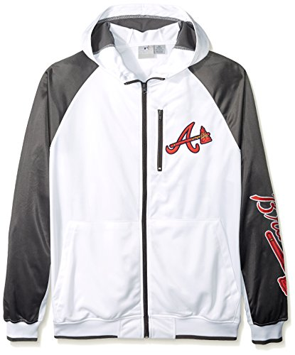 Atlanta Braves Mens Jackets - MLB Atlanta Braves Men's Full Zip Tricot Logo Sleeve Track Jacket with Wordmark, 2X/Tall, White/Charcoal