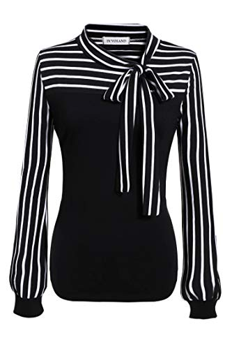 Women's Plus Size Tie-Bow Neck Striped Blouse Long Sleeve Shirt Casual Office Work Splicing Blouse Shirts Tops