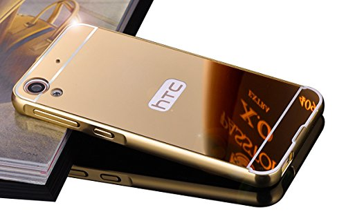DAMONDY Luxury Metal Air Aluminum Bumper Detachable + Mirror Hard Back Case 2 in 1 cover Ultra-Thin Frame Case For HTC Desire 626 / 626S(Mirror_Gold ) (Htc Case)