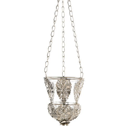 Ornate Elegant Silver Hanging Candle Cup Lamp Chandelier by Koehlerhomedecor