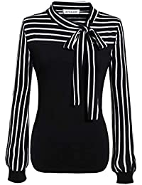 Women's Plus Size Tie-Bow Neck Striped Blouse Long Sleeve...