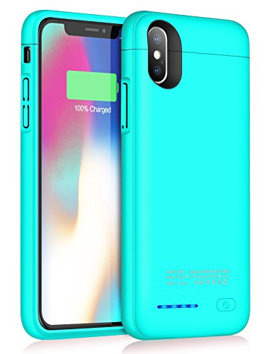 Battery Case for iPhone X/XS/10, JUBOTY 4000mAh Magnetic Slim Charger Case Extend 100% Battery Life Rechargeable Portable Backup Cover Charging Case Power Bank Phone Stand Support(B-Blue)