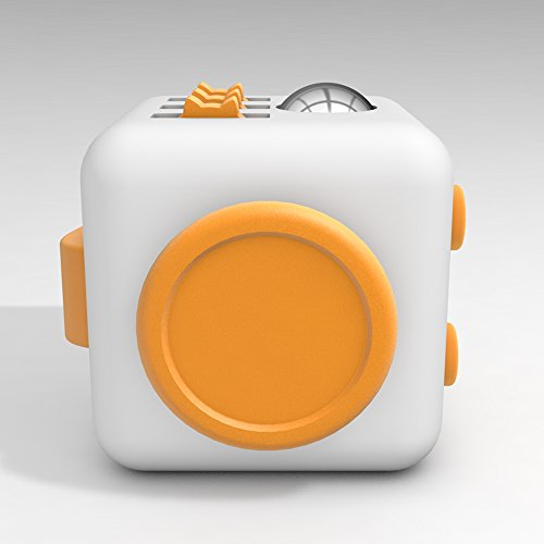 D-JOY Cube Fidget Toy Cube Relieves Stress and Anxiety Attention Toy for Work, Class, Home (White Yellow) Photo #2