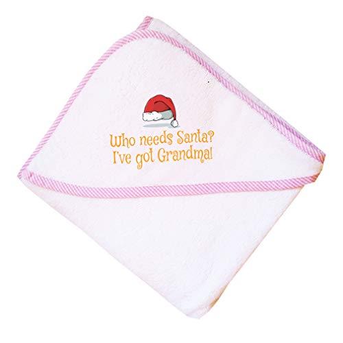Who Needs Santa? I'Ve Got Grandma Boys-Girls Cotton Baby Hooded Towel - Pink, One Size