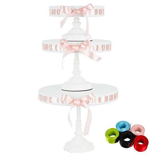 Lily 3-Piece White Metal Ribbon Cake Stand Set, Round DIY Display Pedestal 15 Interchangeable Satin Ribbons Included ()