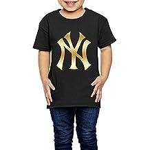 Little Girls' New York Yankees Glod Logo 2-6 Years Old Toddler T-Shirt Black