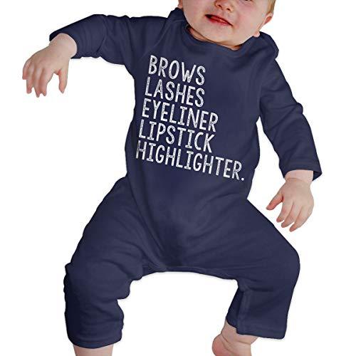 Love Taste Brows Lashes Eyeliner Lipstick Highlighter Unisex Baby Boy Girl Organic Cotton Bodysuits Long Sleeve Onesies, Navy