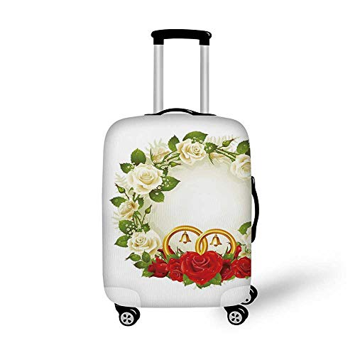 (Wedding Decorations Stylish Luggage Cover,Frame with White and Red Roses and Stylized Wedding Rings Romance for Luggage,S(17.9''W x 24''H))