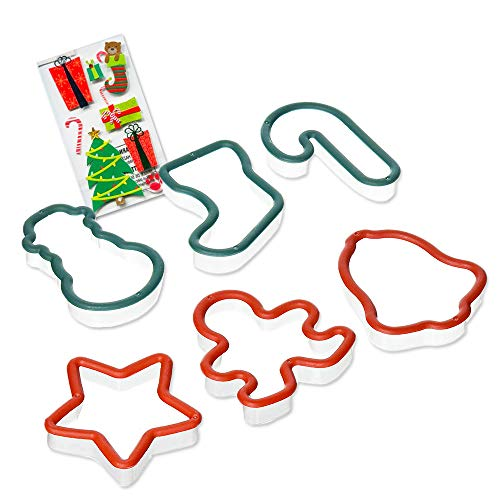 Christmas Cookie Cutters for Kids ~ Set of 6 Christmas Cutters with Safe Edges and Bonus Stickers (Stocking, Snowman, Candy Cane, Bell, Star, Gingerbread Man)