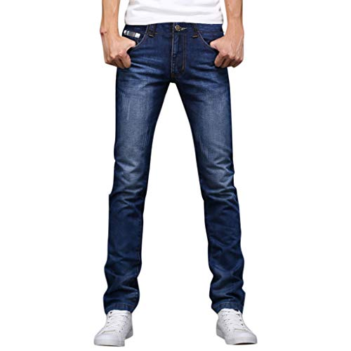 iHPH7 Jean Relaxed Fit Straight Leg Summer Washed Jeans Business Fashion Casual Trend Trousers Men's (28,1- Blue)