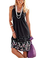 AELSON Womens Summer Casual Sleeveless Mini Printed Vest Dresses,Black,Small