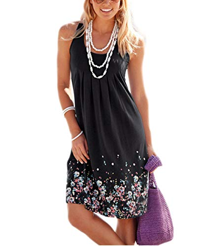 AELSON Womens Summer Casual Sleeveless Mini Printed Vest Dresses,Black,Medium