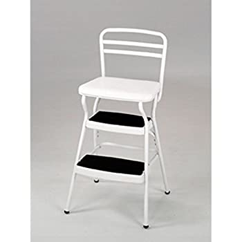 Cosco 11130WHTE White Retro Counter Chair / Step Stool with Lift-Up Seat  sc 1 st  Amazon.com & Amazon.com: Cosco Red Retro Counter Chair Step Stool Folding ... islam-shia.org