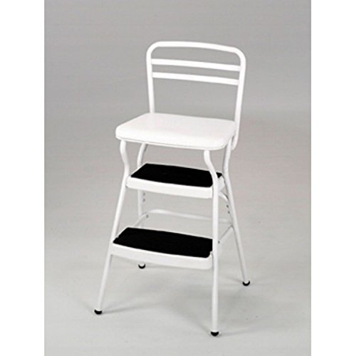 Cosco 11130WHTE White Retro Counter Chair/Step Stool with Lift-Up Seat by Cosco