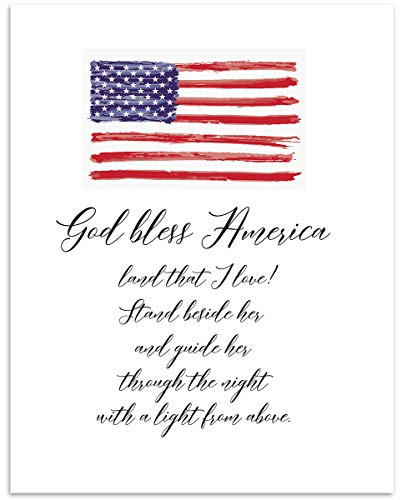 Patriotic Inspirational 'God Bless America, Land That I Love' Typography Word Wall Art - 11x14 UNFRAMED Print - Makes a Great Decor Gift for any Patriot