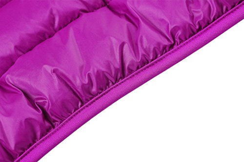 Wantdo Mujer Abrigo Chaqueta Cazadora De Plumón Con Capucha portátil Ligero De Ultra Púrpura Claro