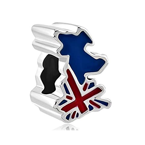 LilyJewelry British Flag Bead Uk Map Charm For Bracelets - Jack Heart Charm