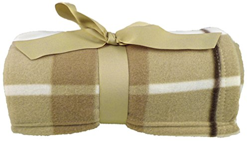 Ultra-Soft 100% Polar Fleece Gift Ready Solid & Patterned Blankets, Khaki