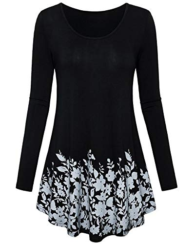 40762d7c155 Pibilu Women's Plus Size Tunic Dress Casual Long Sleeve Floral Print Swing  T Shirt Dresses