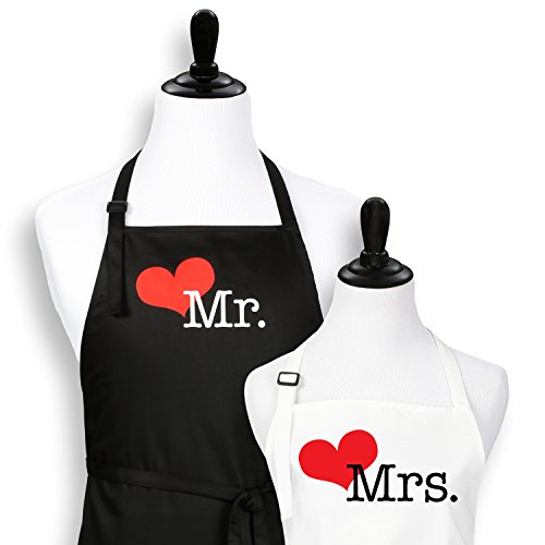 Mr. and Mrs. Aprons - with Heart - Anniversary Wedding Shower Couples His Hers Set…