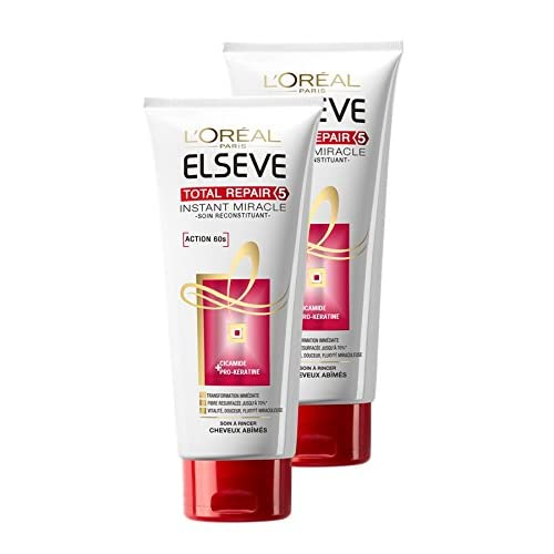 L'Oréal Paris Elseve Soin Miracle Instantané Cheveux Secs Abimés Total Repair 5  - Lot de 2