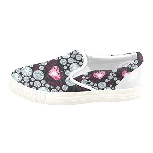 D-story Custom Sneaker Diamonds Skull Mujer Zapatos De Lona Antideslizantes Inusuales