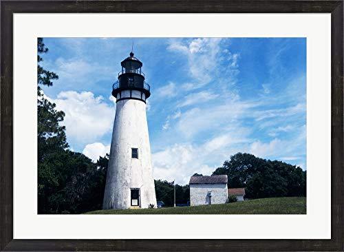 (Amelia Island Lighthouse Fernandina Beach Florida USA Framed Art Print Wall Picture, Espresso Brown Frame, 33 x 24)