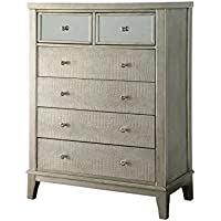 Furniture of America Liselle Contemporary 6-Drawer Chest, One Size, Silver/Gray