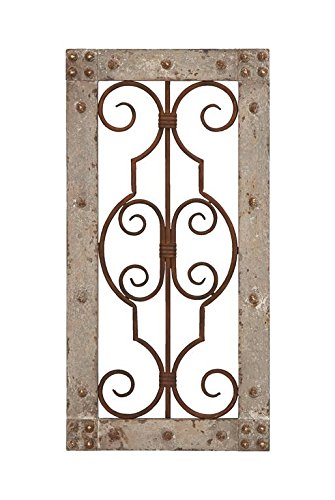 Deco 79 Antiqued Wooden and Metal Wall Panel with Vintage Ruggedness (Wood Metal Wall Decor)