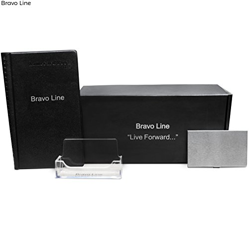 Business Card Holder Set :: Acrylic Desktop Holder, Business Card Book & Stainless Steel Travel Business Cards Case :: Durable & For Men & (Bravo Acrylic)