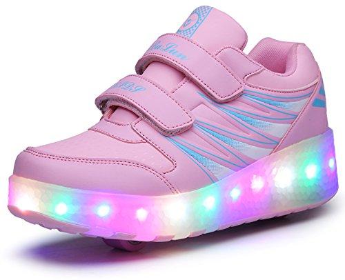 ECOTISH Unisex Kinder LED Roller Schuhe Skate Trainer Boy Girl Blinkende Rollschuh Schuhe Einstellbare Rollerblades lK5CMx